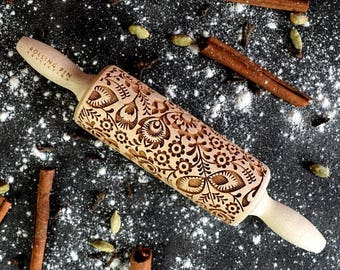 ON SALE Folk Mini rolling pin, embossing rolling pin, laser engraved rolling pin, Polish folk, folk flowers,  Folklor flower pattern