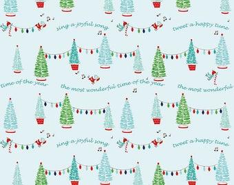 1 yard Pixie Trees Aqua from Tasha Noel for Riley Blake Fabrics, cotton fabric, quilt shop quality