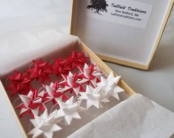 Valentine Moravian Star Ornaments - Set of 12 in Red and White