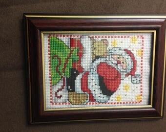 5x6 Finished Santa Cross Stitch