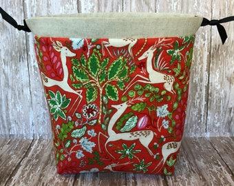 Medium Drawstring Bag, Project Bag, Knitting Project Bag, Crochet Project Bag, Makeup Bag, Toiletries Bag