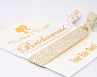 Bridal Favor Hair Ties, Bridesmaids Hair Ties, Gold Foil, Handmade Ponytail Holders, Maid of Honor Hair Ties, Flower Girl Hair Ties
