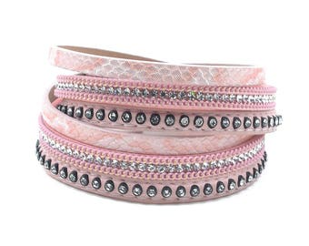 Leather Double Wrap Crystal Cuff Bracelet Pink