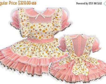 50% OFF SALE Katie Custom Fit PINK Ruffles Adult Little Girl Baby Sissy Dress & Sash Leanne