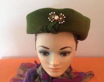 Anniversary Sale Ladies Vintage Khaki Felt Hat