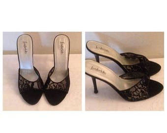 Anniversary Sale Vintage Fredericks of Hollywood Black Lace Mules