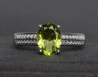 natural peridot ring engagement ring oval cut green gemstone sterling silver ring August birthstone