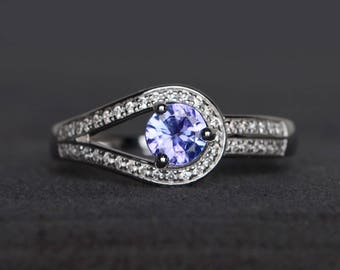 engagement ring natural tanzanite ring round cut gemstone sterling silver ring December birthstone