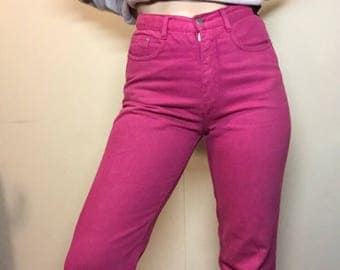 90's High waisted hot pink denim jeans
