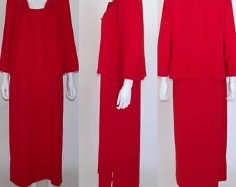 Vintage 80's RED Jacket Long Dress Outfit