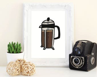 french press 5X7 Wall Art - coffee print - kitchen decor - coffee decor - digital print - coffee art - coffee poster - coffee decoration