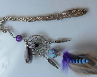 Bookmark in purple and turquoise feathers - birthday gift, Christmas, retirement - hair - peak bun - dream catcher - book