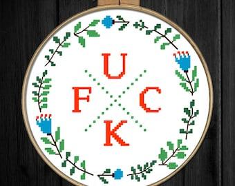 Fuck Subversive Cross Stitch Pattern - Fuck floral wreath - Modern Cross Stitch - Funny Cross Stitch - PDF Pattern - Instant Download - Cute