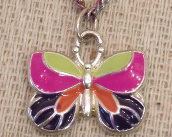 "Vintage Rainbow Butterfly Necklace, 16"" Long"
