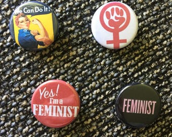 Feminist, Rosie, Rosie the Riveter, Feminism, Equal Rights, Pins, Pinbacks, Buttons, Magnets, 1.25 inch