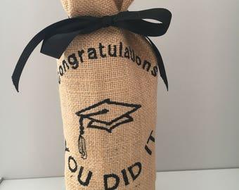Graduation Gift, Graduation Wine Bottle Bag, Hessian Wine Bottle Bag, Gift Bag