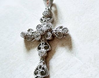 """Small sterling cross pendant 1"""" clear rhinestone cross marked 925 religious filigree Christian Confirmation silver cross Baptism gift"""