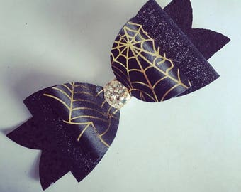 Halloween spider web double bow