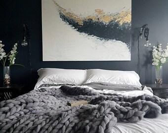 Giant Knit Merino Throw / Luxury Blanket / Hand Knitting / Super Chunky Knit