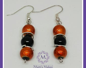 Orange and Black Earrings. Women's earrings , gifts for women, gifts for her, women's accessories, Halloween jewellery