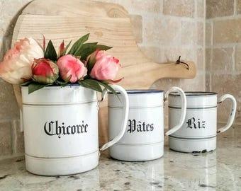 French Enamelware Canisters/Enamel/Vintage enamel/Kitchen decor/French vintage