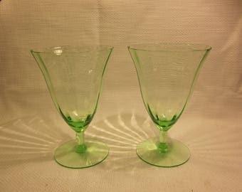Pair of vintage green water goblets, wine glasses, vintage glass