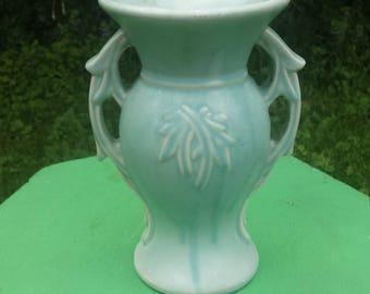 Vintage Baby Blue McCoy Vase, Large McCoy Pottery Vase, Country Decor, Cottage Chic Vase, McCoy Leaf Vase, Vintage Vase with Two Handles