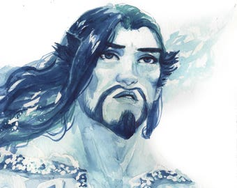 A Far Away Look - Hanzo Shimada of Overwatch in watercolor