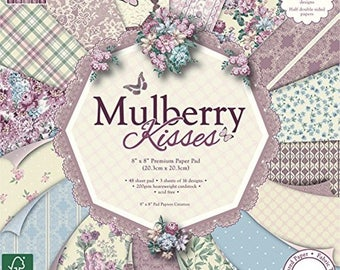 """Floral Lace Decorative Paper Pad, First Edition Mulberry Kisses, 200GSM Cardstock, 8"""" x 8"""" 48 Sheets, Cardmaking, Scrapbooking, Papercrafts"""