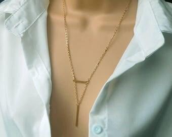 Lariat necklace | y necklace | long necklace | bar drop necklace | bar necklace | gold y necklace | gold lariat necklace | long y necklace