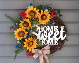 Sunflower Wreath, Sunflower Wreath for Front Door, Year Round Wreath, Country Wreath, Farmhouse Wreath, Home Sweet Home Wreath, Gift for Her
