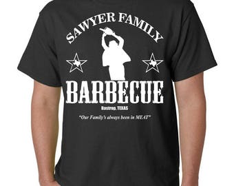 Sawyer Family Barbecue T-Shirt - Texas Chainsaw Massacre TCM BBQ Halloween Horror Tee