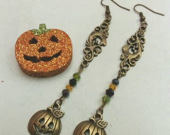 Halloween pumpkin bronze drop earrings with bicone beads