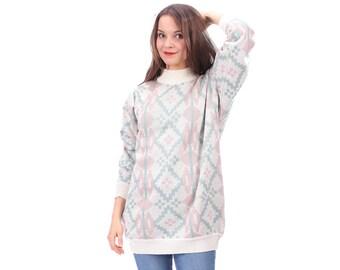 White Aztec Sweater 80s Abstract Longline Pullover Sweater White Green Pink Winter Sweater Women Men Knitwear Geo Geometric Print Large