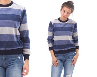 Striped Sweatshirt Velvet 80s Sweatshirt Blue Sweater Slouchy Long Sleeve Grunge Retro Boho 1980s Pullover Jumper Crew Neckline Small