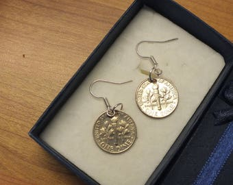 52nd  BIRTHDAY  1965  USA one dime pair of earrings