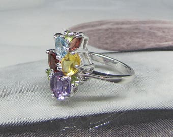 Ring Sterling Silver and multi gemstones size 56