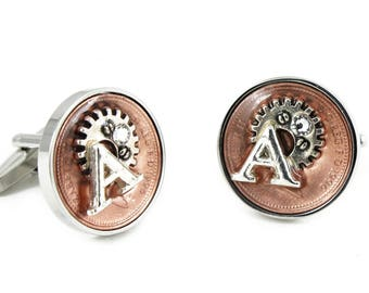 Happy 40th Birthday UK Penny Coin Steampunk Style Cufflinks with Swarovski Birthstone and Initial charm