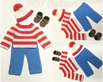 CROCHET PATTERN Waldo Outfit Costume Diaper Set Pattern Hat Shoes Pants