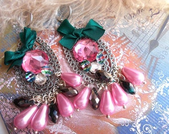 vintage baroque green and pink earrings
