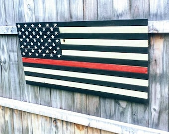 Thin Red Line Wood Flag,  Wooden American Flag, Thin Red Line, Fireman Flag