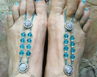 Set of Turquoise barefoot sandals