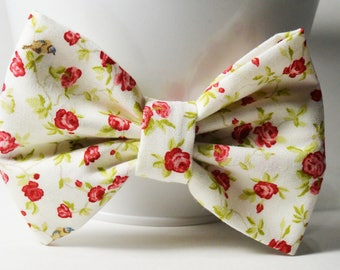 Fabric Bow - Red Rose Bow