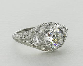 Vintage Edwardian Platinum Diamond Ring, 1.40 Ct H VS2