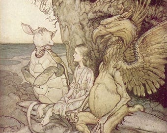Alice Adventures in Wonderland Gryphon & Mock Turtle by Arthur Rackham Wall Art Print Poster A3 A4