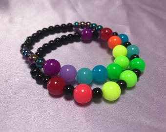 Neon Rainbow and Black Bracelet Set