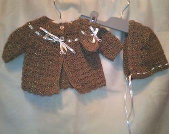 Crochet Baby coat,Bonnet & Booties
