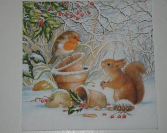 """Christmas theme napkin """"the Robin and squirrel"""""""