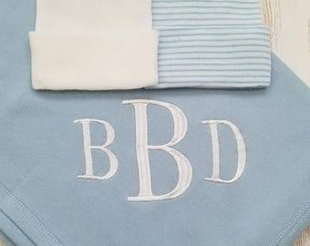 Personalized baby boy blanket- baby boy receiving blanket, baby boy blanket, baby gift, monogrammed baby blanket, swaddle blanket, 30x40 in.