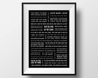 INXS song lyrics poster A3 size